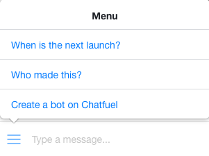 SpaceX Launch Notifier Chatbot menu