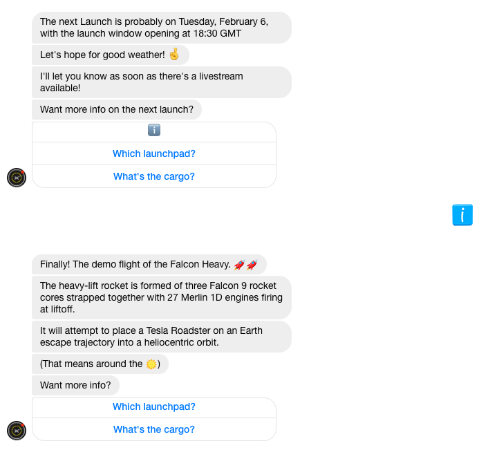 SpaceX Launch Notifier Chatbot More info on the launch